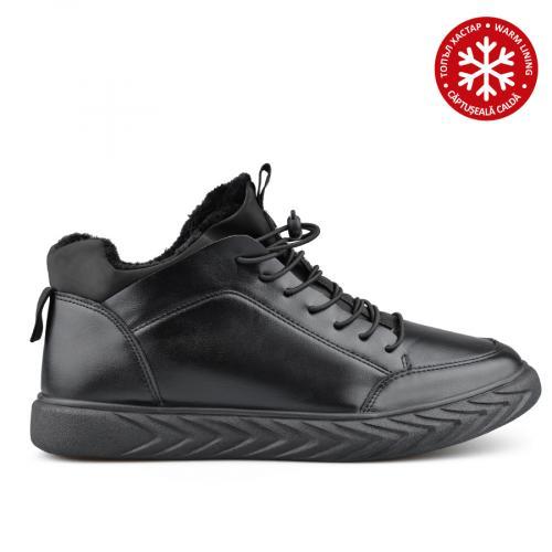 мъжки ежедневни боти черни с топъл хастар 0135560