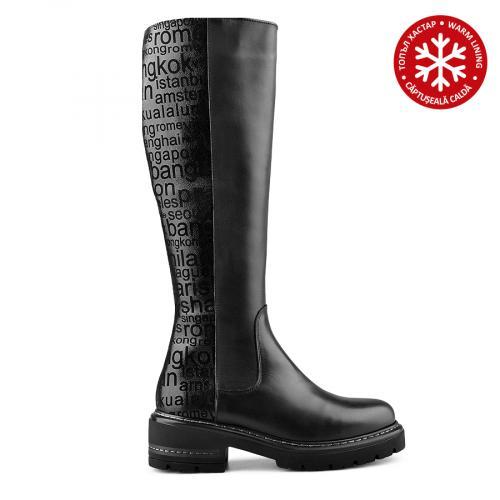 дамски ежедневни ботуши черни с топъл хастар 0139549