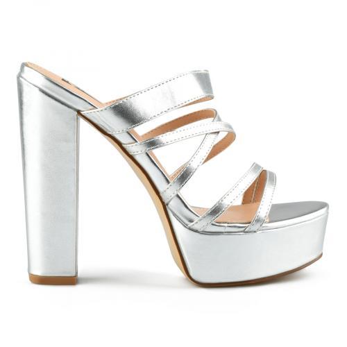 дамски елегантни чехли сребристи 0144372