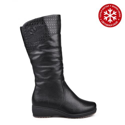 дамски ежедневни ботуши черни с топъл хастар 0132082
