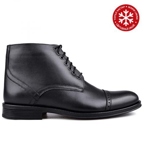мъжки елегантни боти с топъл хастар черни 0134791