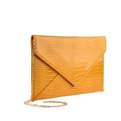 дамска елегантна чанта тъмно жълта  0139887