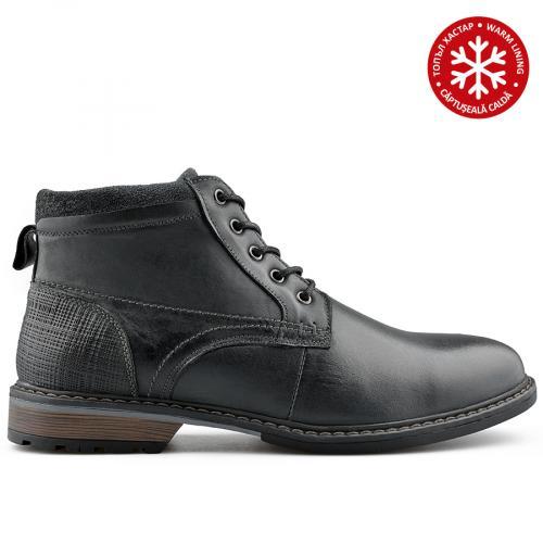 мъжки ежедневни  боти черни с топъл хастар 0139083