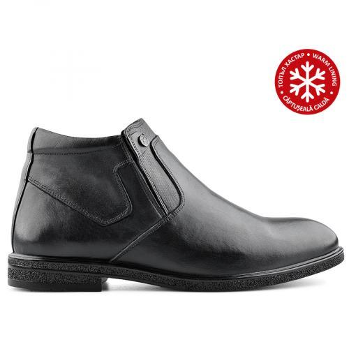 мъжки елегантни боти черни с топъл хастар 0139521