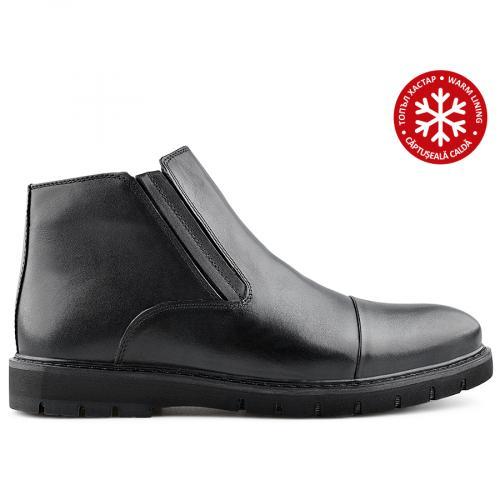 мъжки елегантни боти черни с топъл хастар 0139519