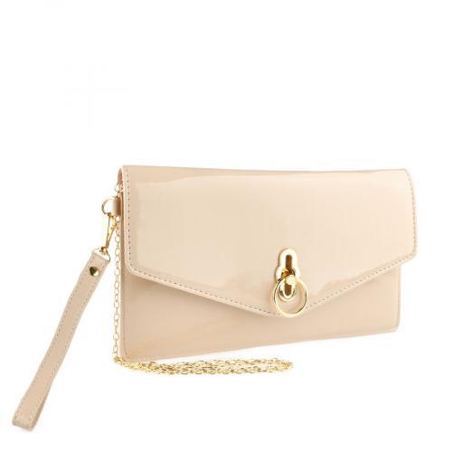 дамска елегантна чанта бежова 0140905