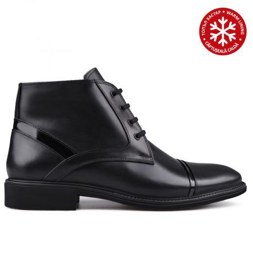 мъжки елегантни боти с топъл хастар черни 0133621