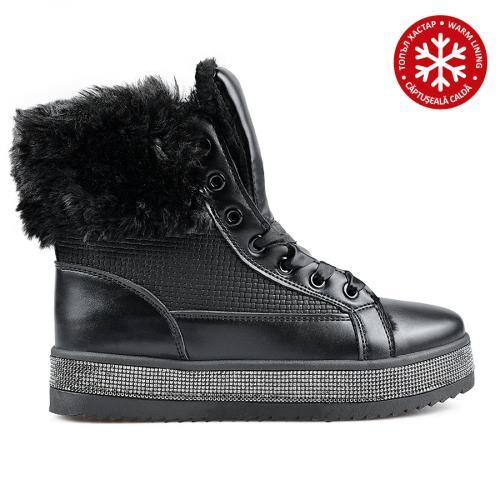 дамски ежедневни боти черни с топъл хастар 0135532