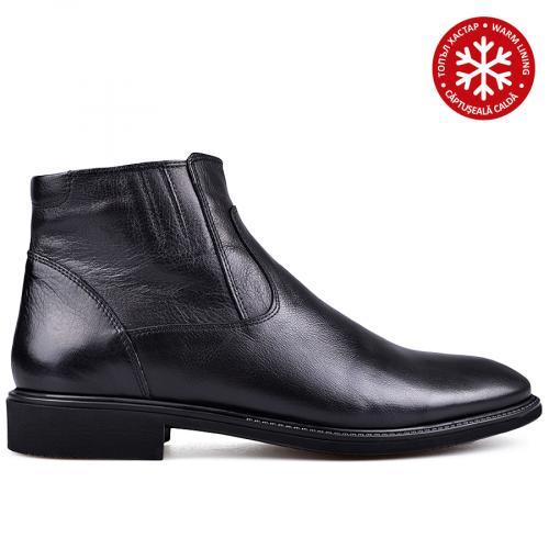 мъжки елегантни боти с топъл хастар черни 0133622
