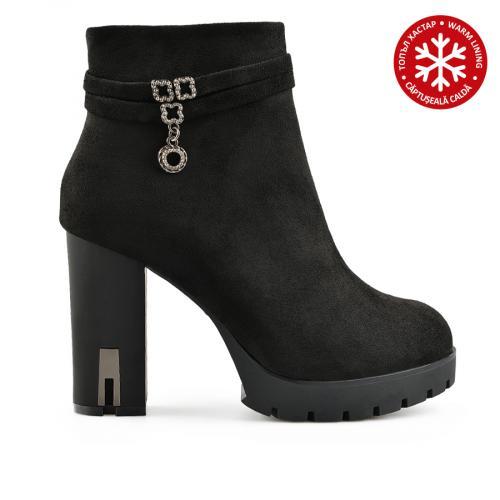 дамски елегантни боти черни с топъл хастар 0139110