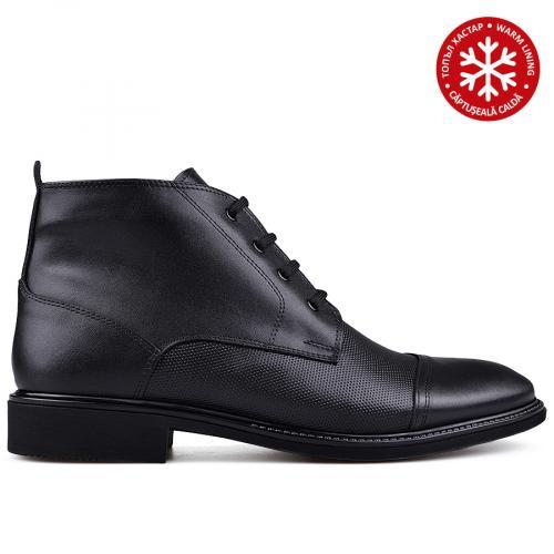 мъжки елегантни боти с топъл хастар черни 0133623