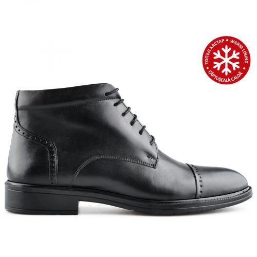 мъжки елегантни боти черни с топъл хастар 0139596