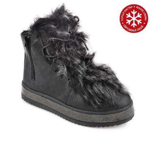 дамски ежедневни  боти черни с топъл хастар 0136043