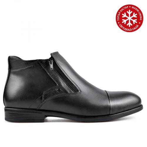 мъжки елегантнии боти черни с топъл хастар 0135872