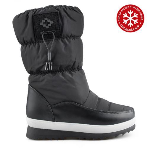 дамски ежедневни  ботуши черни с топъл хастар 0138935