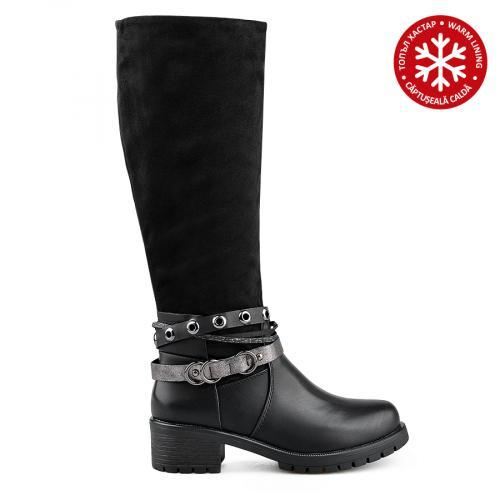 дамски ежедневни ботуши черни с топъл хастар 0135709