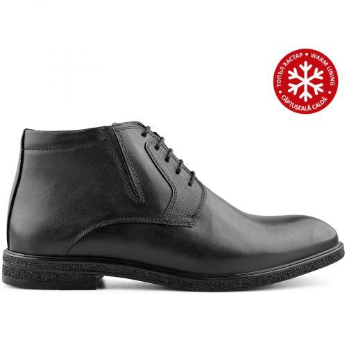 мъжки елегантни боти черни с топъл хастар 0139545