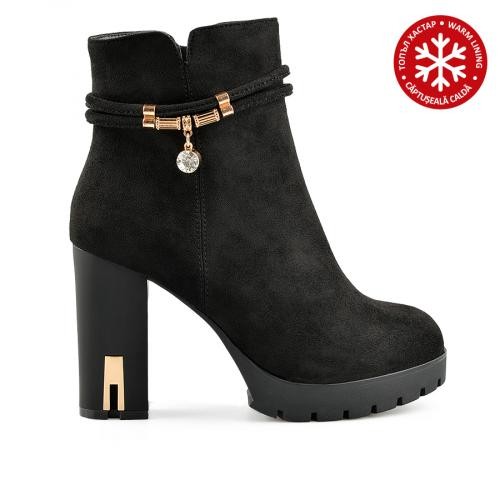 дамски елегантни боти черни с топъл хастар 0139111