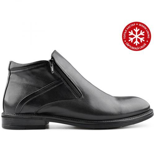 мъжки елегантни боти черни с топъл хастар 0139541