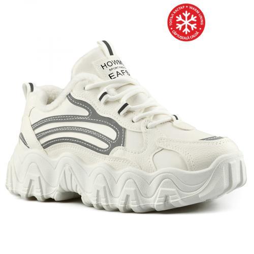 дамски ежедневни обувки бели с топъл хастар 0141472