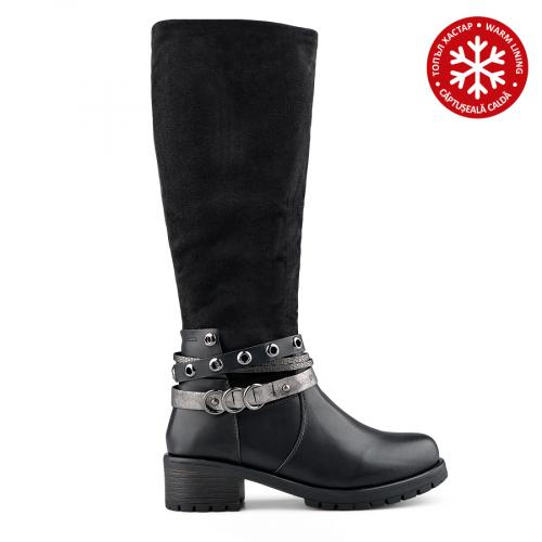 дамски ежедневни ботуши черни с топъл хастар 0139330