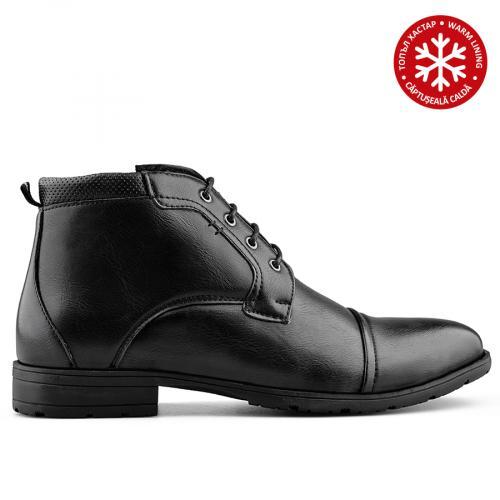 мъжки елегантни боти черни с топъл хастар 0139099