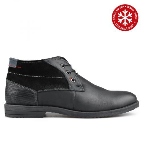 мъжки ежедневни боти черни с топъл хастар 0135764
