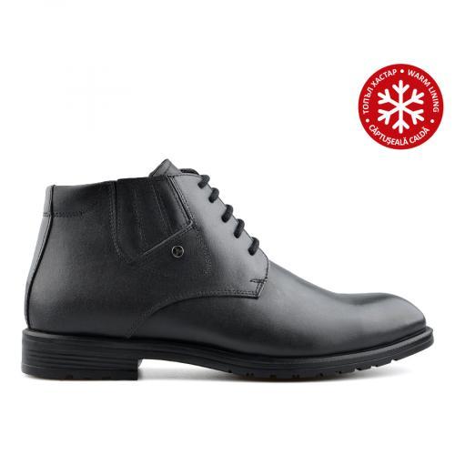 мъжки елегантни боти черни с топъл хастар 0139533