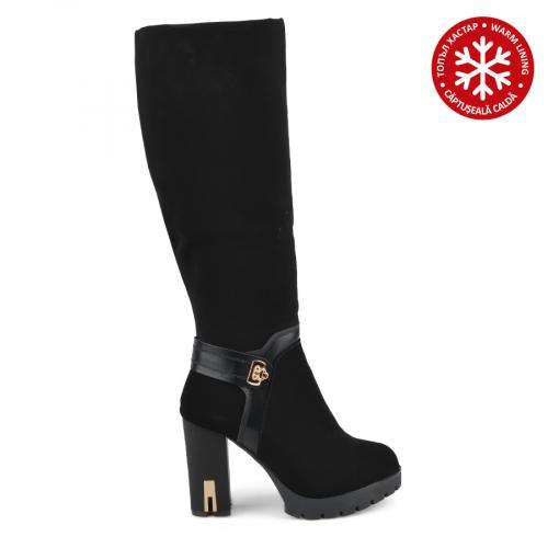 дамски елегантни ботуши черни с топъл хастар 0136065