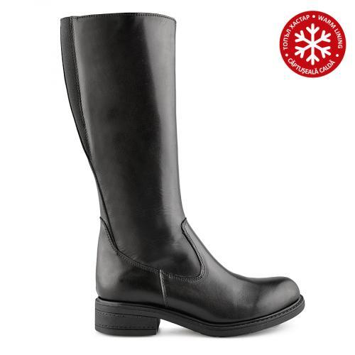 дамски ежедневни ботуши черни с топъл хастар 0139570