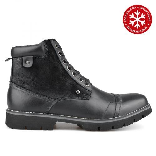 мъжки ежедневни боти черни с топъл хастар 0135789