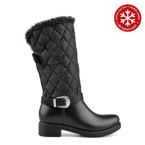 дамски гумени ботуши черни с топъл хастар 0136059