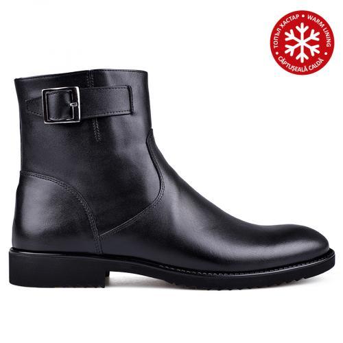 мъжки елегантни боти с топъл хастар черни 0133625