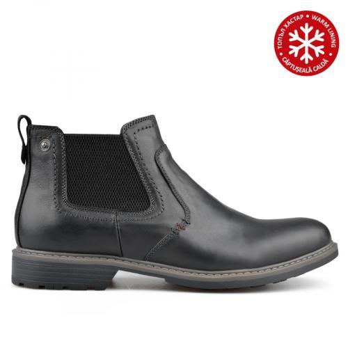 мъжки ежедневни боти черни с топъл хастар 0135765
