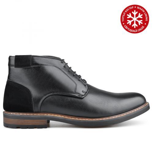 мъжки елегантни боти черни с топъл хастар 0135745