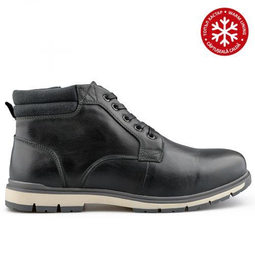 мъжки ежедневни  боти черни с топъл хастар 0139085