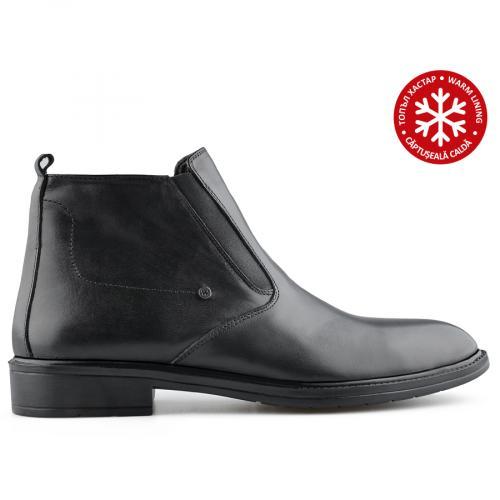 мъжки елегантни боти черни с топъл хастар 0139600