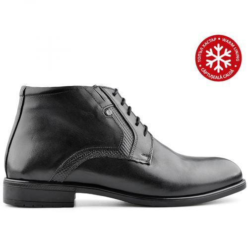 мъжки елегантни боти черни с топъл хастар 0139528