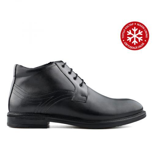 мъжки елегантни боти черни с топъл хастар 0139531