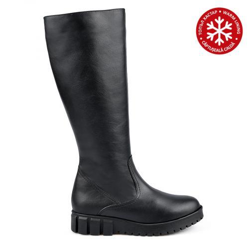 дамски ежедневни ботуши черни с топъл хастар 0138422