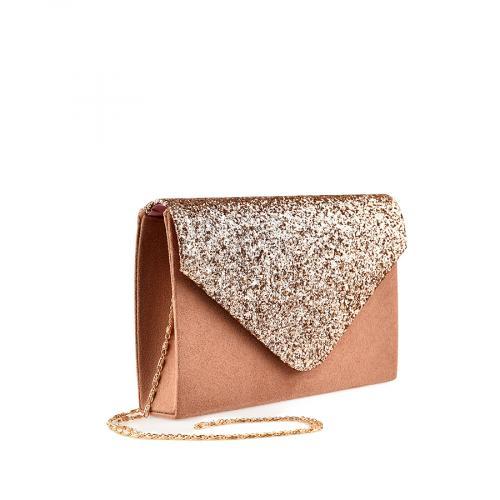 дамска елегантна чанта розово златиста 0139878