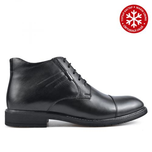 мъжки елегантни боти черни с топъл хастар 0135879
